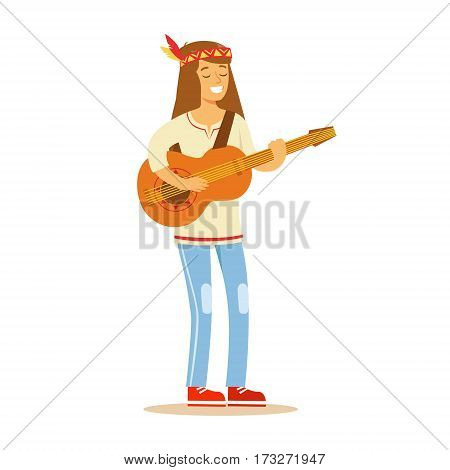 Guy Hippie Dressed In Classic Woodstock Sixties Hippy Subculture Clothes Standing Playing Guitar. Happy Cartoon Character Belonging To 60s Peaceful Subculture Movement Camping In Nature.
