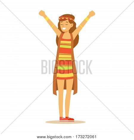 Girl Hippie Dressed In Classic Woodstock Sixties Hippy Subculture Clothes, Colorful Dress And Long Vest. Happy Cartoon Character Belonging To 60s Peaceful Subculture Movement Camping In Nature.