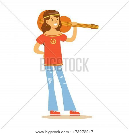 Girl Hippie Dressed In Classic Woodstock Sixties Hippy Subculture Clothes With Peace Print And Guitar. Happy Cartoon Character Belonging To 60s Peaceful Subculture Movement Camping In Nature.