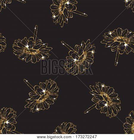 Gold seamless pattern with aster flower. Glittering background. Floral wallpaper print.