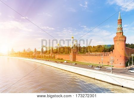 Kremlyovskaya embankment in Moscow with sunlight effect