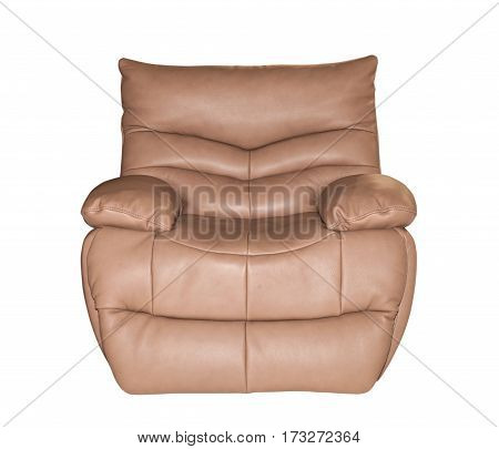Brown leather chair isolated on white background