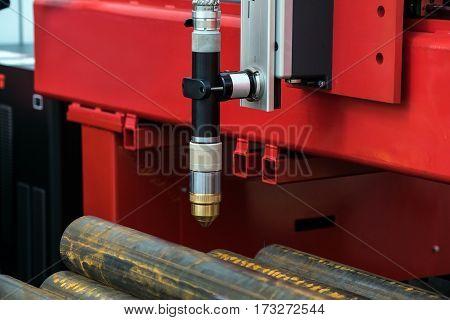 Laser metal sheet cutting machine close up processing