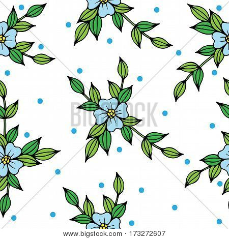Beautiful vector seamless background with blue flowers and leaves. Can be used for printing on fabric for wrapping paper and for the background of the site.
