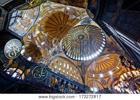 Istanbul, Turkey - April, 2013: Interior of the Hagia Sofia Mosque in Istanbul, Turkey.