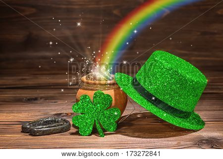 St Patricks Day Decoration With Magic Light Rainbow Pot Full Gold Coins, Horseshoe, Green Hat And Sh