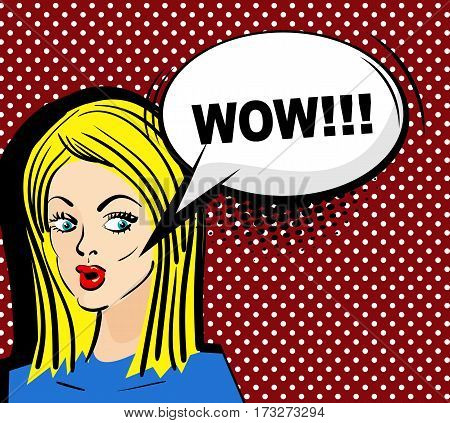 Vector illustration. Surprised attractive pop art blonde girl with long hair says wow. Pin up woman with sensual sexy red lips talking. Comic speech bubble phrase wow. Comics style.