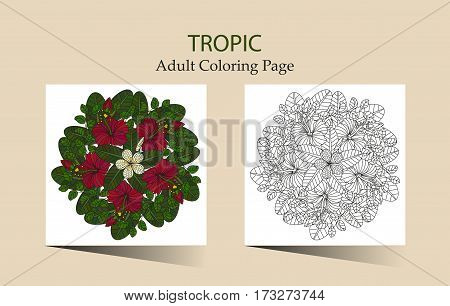 Round vector ornament with tropical hibiscus flowers. Cloring page for adults.