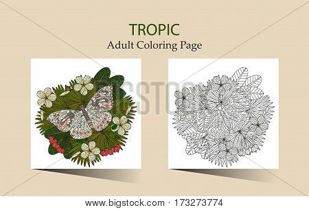 Round vector ornament with tropical plumeria flowers. Cloring page for adults.