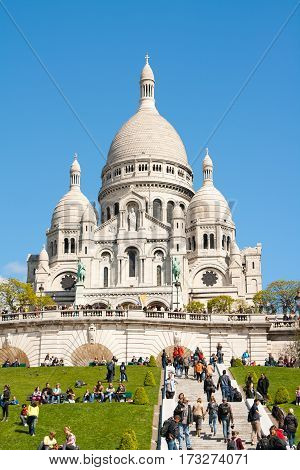 Paris France sun day 01 may 2012: Sacre Ceure cathedral in Paris montmartre