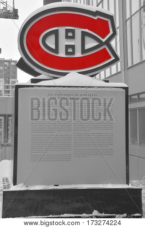 MONTREAL QUEBEC CANADA 02 15 2017: Monument for the Montreal Canadiens Hall of Fame, outside the Bell Centre, Montreal, Quebec, Canada