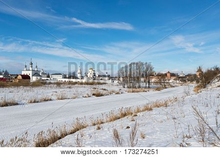 Winter landscape with Monastery Suzdal Russia. Golden Ring of Russia Travel