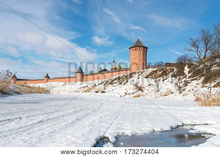 winter view of the medieval monastery walls in Russia