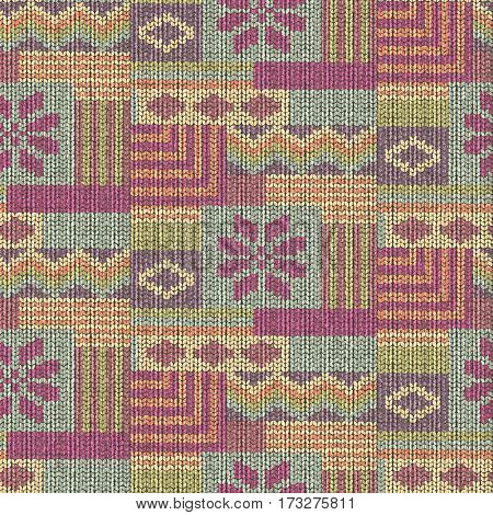 Scandinavian wool knitted seamless pattern, patchwork illustration
