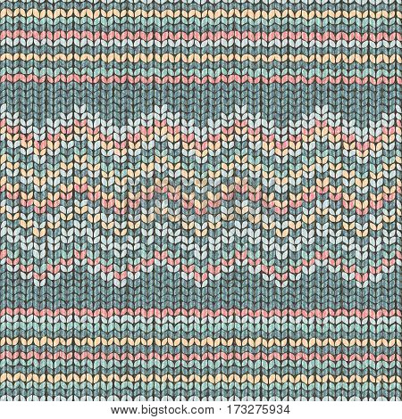 Fabric green knitted texture, zigzag seamless pattern