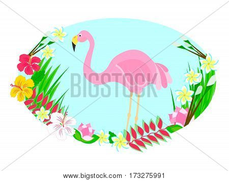 Flamingo and tropical flowers Vector illustration oval frame