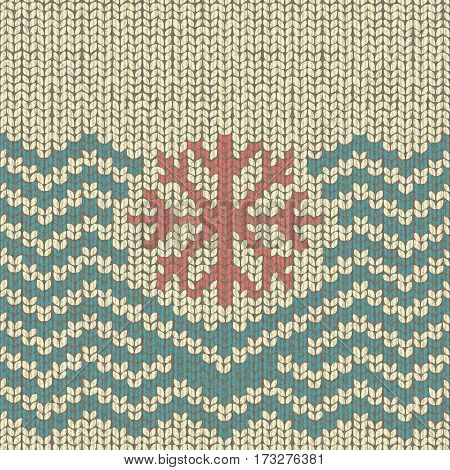 Zigzag knitted pattern with snowflake embroidery, fabric wool textile, illustration