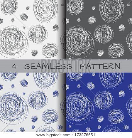 set of seamless patterns of circular scrawl fabric or paper