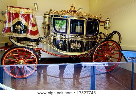 LONDON, GREAT BRITAIN - MAY 17, 2014: This is one of the royal carriages in the Royal Mews.