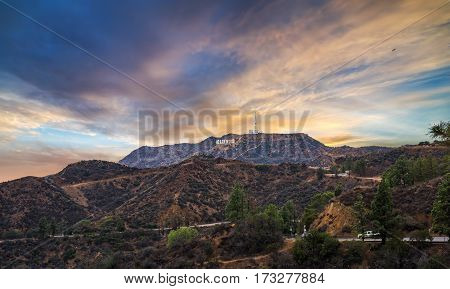 Los Angeles CA USA - October 28 2016: Hollywood sign at sunset