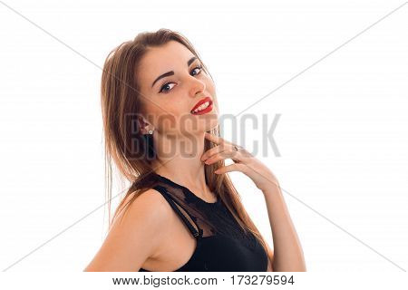 Portrait of a young charming girl with red lipstick close up isolated on white background.
