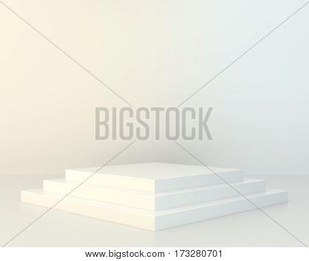 Blank white podium. Pedestal platform. 3d rendering
