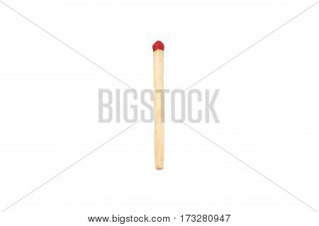 one match with red sulfur isolated on white background