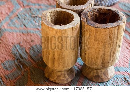 Exotic handmade crafted souvenirs of Vedda people tribe in Sri Lanka.