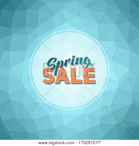 Poster with colorful geometric background. Spring sale tag
