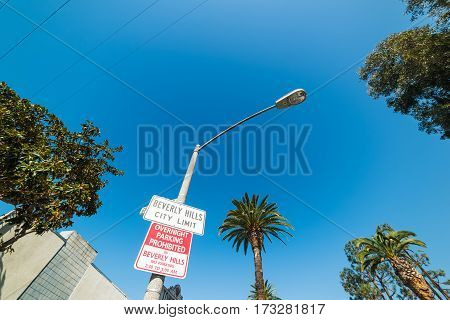 Beverly Hills city limit in California, USA