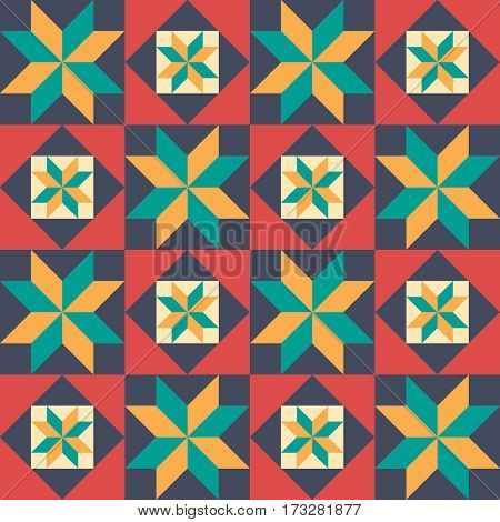 seamless pattern in style of patchwork vector illustration.