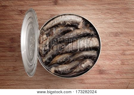 Open Can Of Sprats And Other Canned Smoked Fish