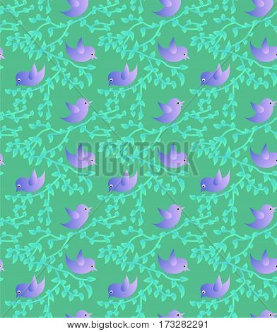 Seamless texture: birds chirping about the spring on the branches. Young spring foliage and funny birds.
