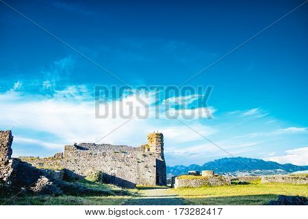 Panoramic view at Albanian nature from Rozafa Castle