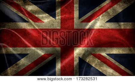 Great Britain Flag On Old Background Retro Effect