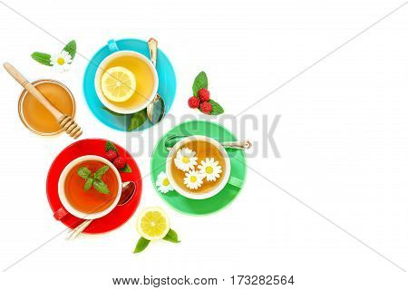 Tea Collection Of Three Different Types Of Tea - Green With Lemon, Black Raspberry, Chamomile Tea Is