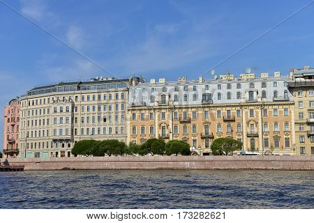 Luxury Houses on Neva river in St. Petersburg. Russia.