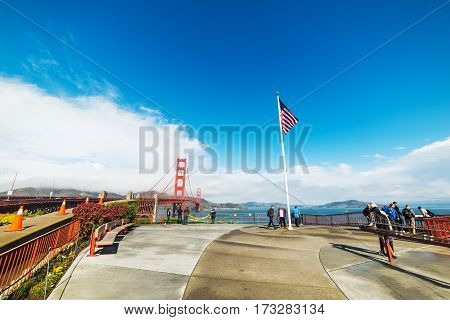 San Francisco CA USA - October 30 2016: Tourists by Golden gate bridge