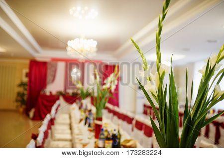 White Gladiolus On Table At Vase On Wedding Hall.