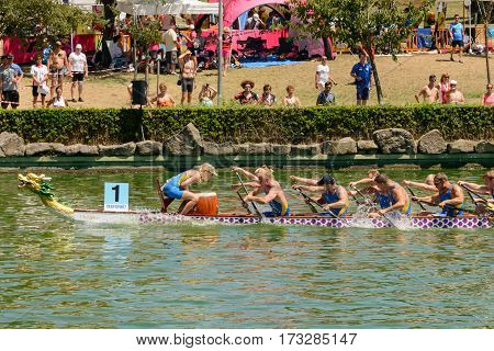 Rome Italy - July 30 2016: Dragon boat crews compete at the european championships held in Italy in 2016 summer Sverige crew during the race
