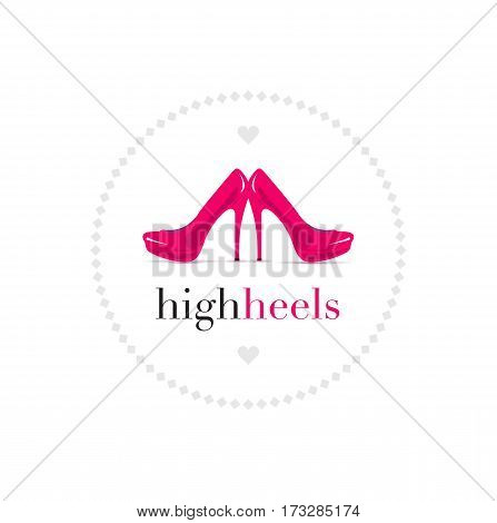 Bright red shoes, creative vector illustration design concept