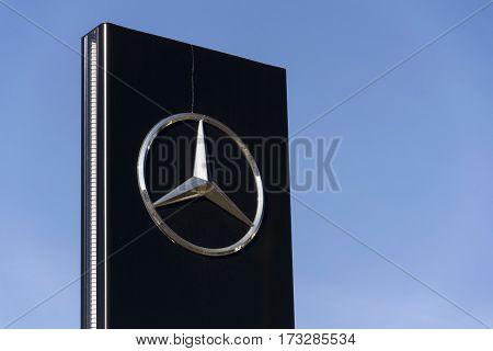Prague, Czech Republic - February 25: Mercedes-benz Car Logo On Dealership Building On February 25,