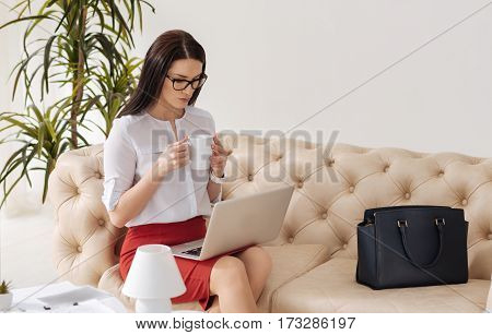 Tasty drink. Beautiful hard working nice woman holding a cup and drinking tea while working on the laptop