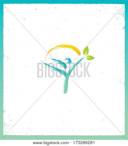 Yoga pose and leaf symbol and sun with oriental brushwork style.