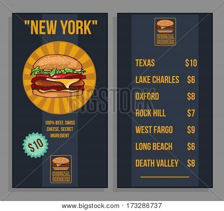 Fast food restaurant menu template with different variants of burgers in flat style vector illustration