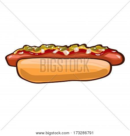 Colorful hot dog template with bread sausage ketchup mustard and vegetables on white background isolated vector illustration
