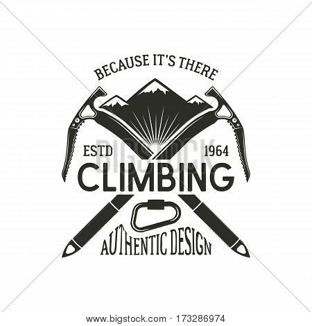 Vintage climbing badge. Climbing logo, vintage vector emblem. Climb gear - carabiner and text. Retro t shirt design. Old style illustration. Climbing insignia.