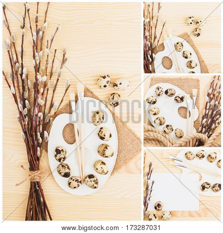 Different Pictures Of Quail Eggs With Twig Willows, Wooden Background, Top View