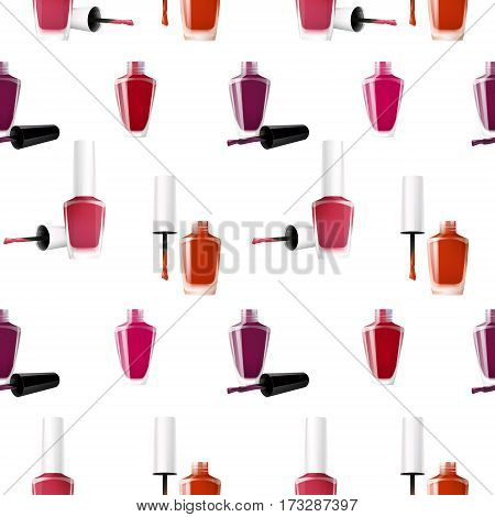 Realistic nail polish seamless pattern with opened and closed lid bottles of different colors vector illustration