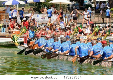 Rome Italy - July 30 2016: Dragon boat crews compete at the european championships held in Italy in 2016 summer The Italian Team